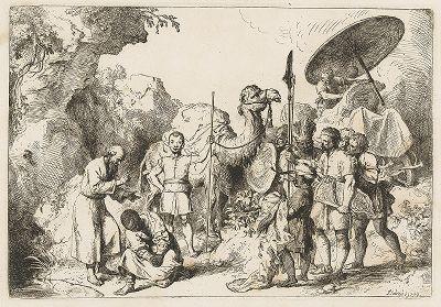 Крещение эфиопского евнуха. Офорт Кристиана Дитриха, 1740 год.