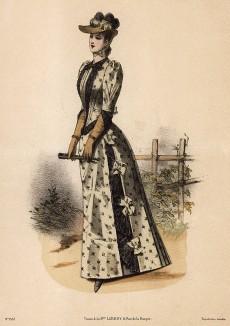 Милое летнее платье в цветочек, украшенное бантами и кружевом. Из французского модного журнала Le Coquet, выпуск 256, 1889 год