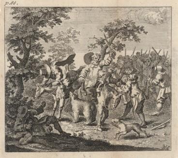 Первое приключение Гудибраса. Сцена 2. Рыцарь Гудибрас и Ральфо под влиянием благородного порыва, пытаются освободить медведя. Но сами становятся его жертвами. Иллюстрация к поэме «Гудибрас». Лондон, 1732