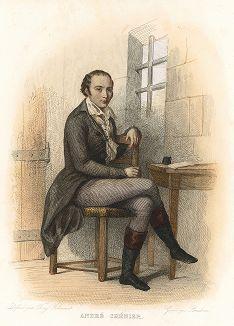 Андре Шенье (1762-1794) - французский поэт и политический деятель. Лист из серии Le Plutarque francais..., Париж, 1844-47 гг.
