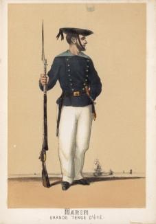 Матрос испанского военно-морского флота в парадной форме образца 1860 года (из альбома литографий L'Espagne militaire, изданного в Париже в 1860 году)