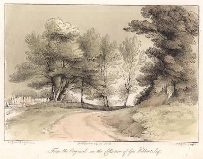 Деревья вдоль дороги. Гравюра с рисунка знаменитого английского пейзажиста Томаса Гейнсборо из коллекции Дж. Хибберта. A Collection of Prints ...of Tho. Gainsborough, Лондон, 1819.