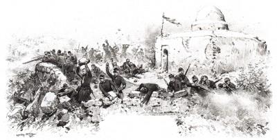 Битва у Сиди-Брагим 22-25 сентября 1845 года между войсками Абд-Эль Кадера и французами. Последние потерпели тяжёлое поражение (из Types et uniformes. L'armée françáise par Éduard Detaille. Париж. 1889 год)