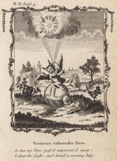 """Я избегаю света: на меня наводит ужас наступающий день (из бестселлера XVII -- XVIII веков """"Символы божественные и моральные и загадки жизни человека"""" Фрэнсиса Кварльса (лондонское издание 1788 года))"""