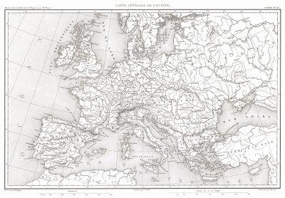 """Карта Европы времен наполеоновских войн. Из атласа к работе Луи Адольфа Тьера """"История консулата и империи"""", карта 27. Париж, 1866"""