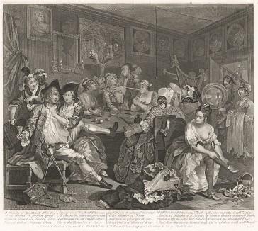 Карьера мота, гравюра III. «Сцена в таверне», 1735. Молодой богатый наследник проматывает свое состояние в кутежах с проститутками. Лондон, 1838