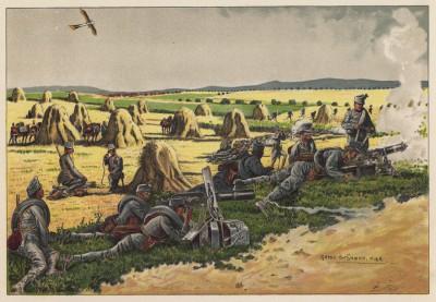 Пулемётный взвод австро-венгерской армии на полевых учениях (из редкого альбома Der Osterr. Ung. Soldat mit waffe und Werkzeug. Armee-Bilderbuch (нем.), изданного в Штраубинге (Германия) в 1911 году)