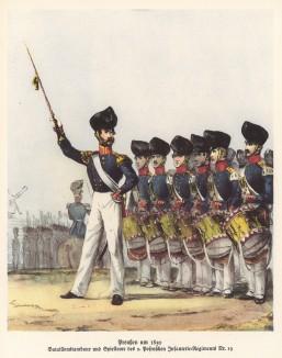 Оркестр 19-го пехотного полка прусской армии в 1830 году (из популярной в нацистской Германии работы Мартина Лезиуса Das Ehrenkleid des Soldaten... Берлин. 1936 год)