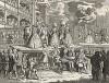 Шарж к «Опере нищего», 1729. Сатирическое изображение английского театра. Гармония, парящая над сценой, показывает зрителям свой зад. Под сценой, за музыкантами, спят Аполлон и Муза. Многие персонажи в масках животных. Лондон, 1838