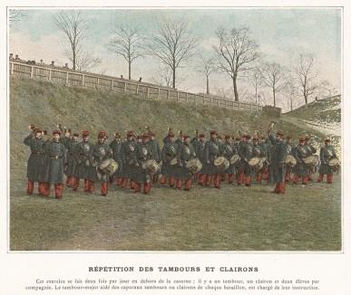 Тренировка музыкального взвода французской пехоты. L'Album militaire. Livraison №1. Infanterie. Serviсe interieur. Париж, 1890
