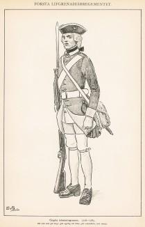 Гренадер шведского пехотного полка Östgöta в униформе образца 1756-65 гг. Svenska arméns munderingar 1680-1905. Стокгольм, 1911