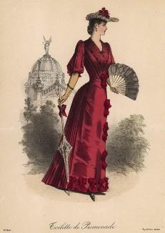 Ярко-красное платье для прогулки, украшенное бантами. Из французского модного журнала Le Coquet, выпуск 256, 1889 год