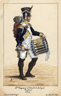 1812 г. Барабанщик 57-го полка французской линейной пехоты. Коллекция Роберта фон Арнольди. Германия, 1911-28