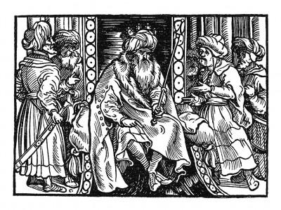 Турецкий султан. Иллюстрация Йорга Бреу Старшего к описанию путешествия на восток Лодовико ди Вартема: Ludovico Vartoman / Die Ritterliche Reise. Издал Johann Miller, Аугсбург, 1515