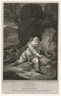 """Иллюстрация к исторической хронике Шекспира """"Генрих IV, часть 1"""", акт V, сцена IV: Трусливое бегство сэра Джона Фальстафа. Boydell's Graphic Illustrations of the Dramatic works of Shakspeare, Лондон, 1803."""