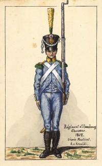 1807 г. Егерь полка d'Jusemourg французской армии. Коллекция Роберта фон Арнольди. Германия. 1911-28 гг.