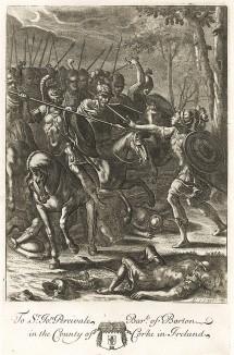 """Нис сражается один против трехсот воинов Турна. """"Энеида"""" Вергилия, книга IX. Лист подписного издания посвящён Сэру Джону Персивалю"""