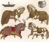 Модная во Франции XIV--XVI вв. конская упряжь: попона, оголовье с трензелью, уздечка, седло, намордник из лужёного железа (из Les arts somptuaires... Париж. 1858 год)