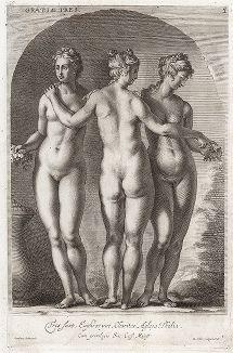 Три очаровательные Грации. Лист из Sculpturae veteris admiranda ... Иоахима фон Зандрарта, Нюрнберг, 1680 год.