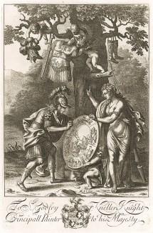 """На щите Энея изображён весь Рим и славная история. «Рад Эней на щите картинам, не зная событий, и поднимает плечом и славу, и судьбу потомков». """"Энеида"""" Вергилия, книга VIII. Лист подписного издания посвящён портретисту Готфриду Кнеллеру (1648--1723 гг.)"""