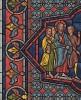 Миниатюра с витража Шартрского собора, изображающая Иисуса, идущего совершать свое первое чудо: обращать воду в вино на свадьбе в Кане Галилейской (из Les arts somptuaires... Париж. 1858 год)