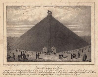 Холм Ватерлоо (высота 46 метров), воздвигнутый в память о погибших (литография с рисунка, выполненного под руководством генерала Анри Жомини во время его прогулки по Ватерлоо 1 сентября 1842 года. Брюссель. 1846 год)