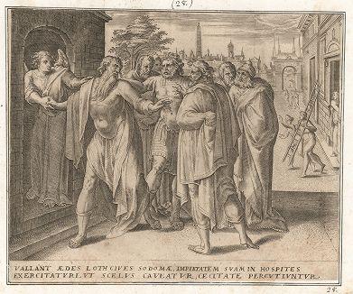 Содомляне пытаются надругаться над пришедшими ангелами. Ветхий Завет. Книга Бытия.