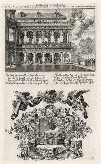 1. Товит посылает сына, чтобы привести на пир нищего 2. Товит собирает пиршественный стол (из Biblisches Engel- und Kunstwerk -- шедевра германского барокко. Гравировал Иоганн Ульрих Краусс в Аугсбурге в 1694 году)