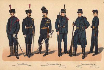 Солдат и офицер частей голландской полевой артиллерии, штаб-офицер и канониры крепостной артиллерии в парадной, полевой и повседневной формах одежды