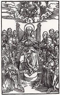 """Альбрехт Дюрер. Святая Бригитта Шведская. Иллюстрация из книги """"Откровения Святой Бригитты"""", изданной в Нюрнберге в 1500 году"""
