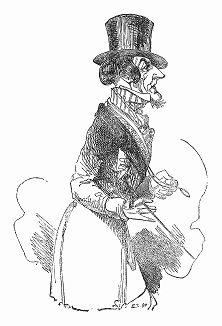 """Иллюстрация к собственному рассказу, сделанная Альфредом Генри Форрестером (1804 -- 1872 гг.), британским автором, иллюстратором и художником, также известным под псевдонимом Альфред """"Воронье перо"""" (The Illustrated London News №88 от 06/01/1844 г.)"""