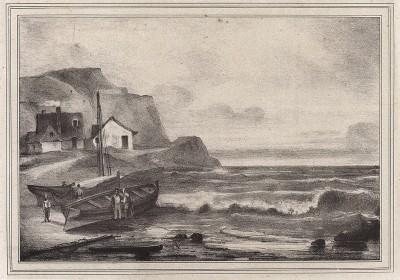 Морской пейзаж с рыбацкой деревней