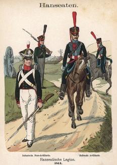 Униформа пехоты и кавалерии Ганзейского легиона образца 1814 г. Uniformenkunde Рихарда Кнотеля, часть 2, л.46. Ратенау (Германия), 1891