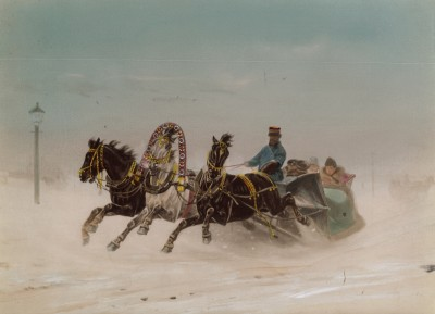 1900-е гг. Тройка с бубенцами (крашенный вручную тиражный вариант фотографии Петра Павлова (1860--1925))