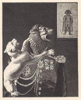 """Первый лист серии """"Бельфорский лев"""" Макса Эрнста, входящей в роман-коллаж """"Une Semaine de bonté"""" (Неделя доброты), 1934 год."""