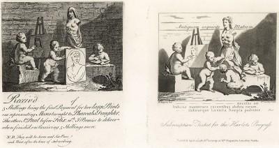 Дети, созерцающие природу. Два подписных билета на покупку гравюр Хогарта. Первые оригинальные изображения художник создает в 1731. Повторно он использует тот же сюжет на марках, подтверждающих оплату его гравюр в 1737,1744 и 1751 гг. Лондон, 1838