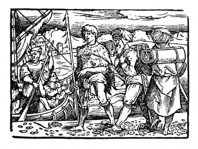 Бегство из Калькутты. Иллюстрация Йорга Бреу Старшего к описанию путешествия на восток Лодовико ди Вартема: Ludovico Vartoman / Die Ritterliche Reise. Издал Johann Miller, Аугсбург, 1515