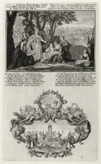 1. Египетская царевна находит младенца Моисея 2. Сцены из юности Моисея (из Biblisches Engel- und Kunstwerk -- шедевра германского барокко. Гравировал неподражаемый Иоганн Ульрих Краусс в Аугсбурге в 1700 году)