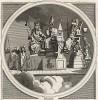 Монархия, церковь и закон, 1724. Сатирическое изображение разложившихся устоев английского общества начала XVIII в.: продажный монарх, подпевающий иудаизму христианский священник, несправедливо и жестоко карающий судья. Лондон, 1838