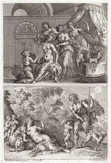 """Туалет Венеры и встреча Венеры с Адонисом. """"Iconologia Deorum,  oder Abbildung der Götter ..."""", Нюренберг, 1680."""
