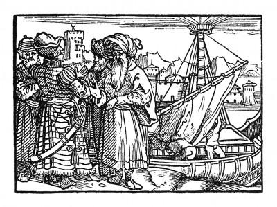 Купцы в порту Калькутты. Иллюстрация Йорга Бреу Старшего к описанию путешествия на восток Лодовико ди Вартема: Ludovico Vartoman / Die Ritterliche Reise. Издал Johann Miller, Аугсбург, 1515