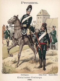 Униформа драгуна и кавалериста хорватских частей добровольческого корпуса фон Клейста образца 1760 г. Uniformenkunde Рихарда Кнотеля, л.7. Ратенау (Германия), 1890
