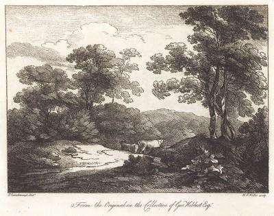 Пейзаж с коровами. Гравюра с рисунка знаменитого английского пейзажиста Томаса Гейнсборо из коллекции Дж. Хибберта. A Collection of Prints ...of Tho. Gainsborough, Лондон, 1819.