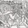 """Мертвецы, собравшиеся у постели дочери императора Константинополя, охраняют её от нескромного рыцаря (иллюстрация к книге """"Рыцарь Башни"""", гравированная Дюрером в 1493 году)"""