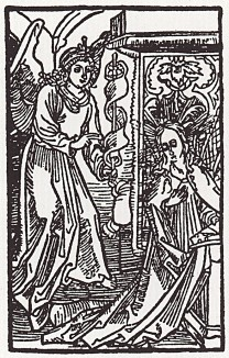 Альбрехт Дюрер. Явление ангела Марии (иллюстрация к Базельскому молитвеннику 1494 года)