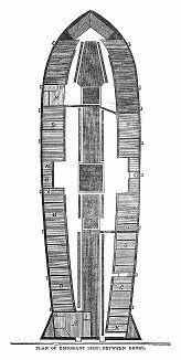 Горизонтальное сечение судна британского флота, перевозившего эмигрантов, отправившихся в Сидней, являвшийся местом первого колониального европейского поселения в Австралии (The Illustrated London News №102 от 13/04/1844 г.)