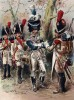 """Пешие гренадеры в парадной форме (голландский полк) (иллюстрация к работе """"Императоская Гвардия в 1804--1815 гг."""" Париж. 1901 год. (экземпляр № 303 из 606 принадлежал голландскому генералу H. J. Sharp (1874 -- 1957))"""