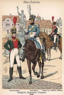 Униформа офицеров королевства Саксония образца 1814 г. Uniformenkunde Рихарда Кнотеля, часть 2, л.23. Ратенау (Германия), 1891