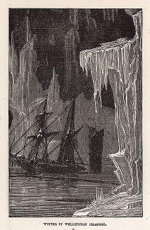 "Арктика. Зима в проливе Веллингтона. Гравюра из серии  ""Half Hours In The Far North"", Лондон, 1897 год"