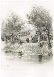 Французские пешие егеря на манёврах в 1885 году ((из Types et uniformes. L'armée françáise par Éduard Detaille. Париж. 1889 год)